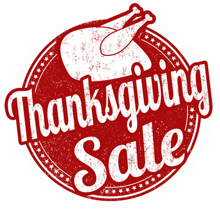 Thanksgiving Sale grunge rubber stamp on white background, vector illustration Çizim