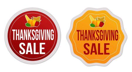 thanksgiving day symbol: Ringraziamento in vendita adesivi impostato su sfondo bianco, illustrazione vettoriale Vettoriali