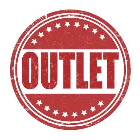 rebates: Outlet grunge rubber stamp on white background, vector illustration