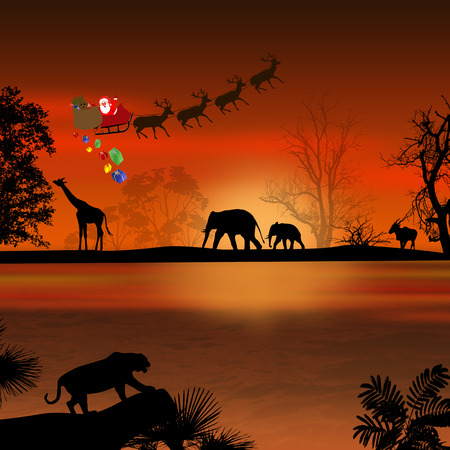 africa tree: Santa Claus in Africa - silhouettes of wild animals and flying Santa on beautiful sunset Stock Photo