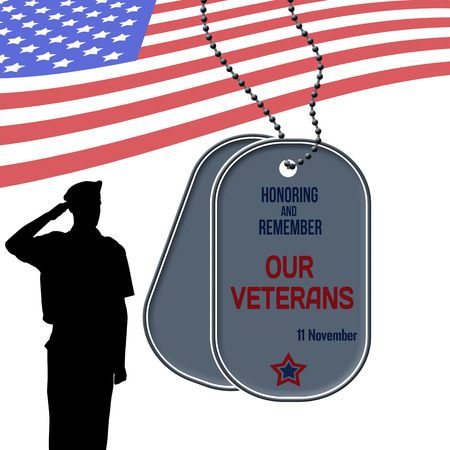 Veterans Day poster with US Army soldier saluting the american flag and dog tags