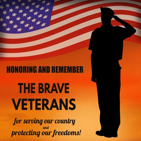 アメリカ陸軍の兵士が夕日を背景にアメリカ国旗に敬礼