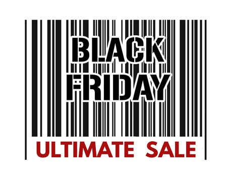 ultimate: Ultimate sale barcode with text Black Friday inside on white background, vector illustration