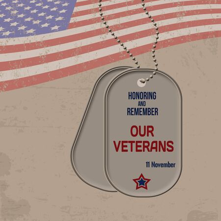 11th: Veterans Day retro poster with the american flag and dog tags on grunge background