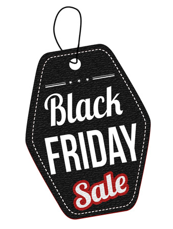 leather label: Black friday sale leather label or price tag on white background, vector illustration Stock Photo