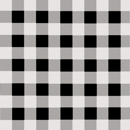 Black and white lumberjack plaid seamless pattern, vector illustration Çizim