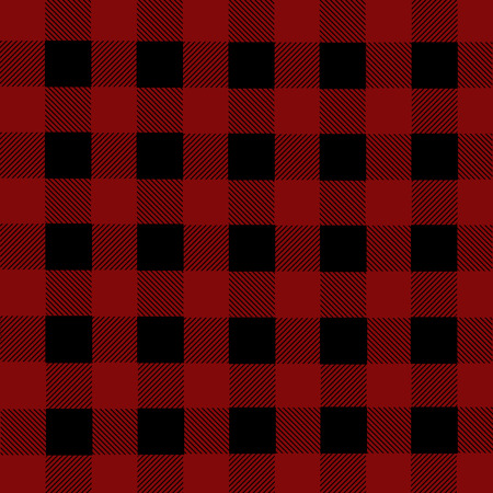 plaid patterns: Black and red lumberjack plaid seamless pattern, vector illustration