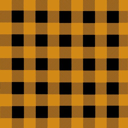 franela: Black and orange lumberjack plaid seamless pattern, vector illustration Vectores