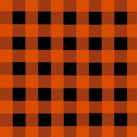 flannel: Black and orange lumberjack plaid seamless pattern, vector illustration Illustration