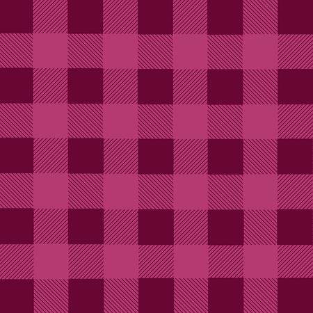 franela: Magenta lumberjack plaid seamless pattern, vector illustration Vectores