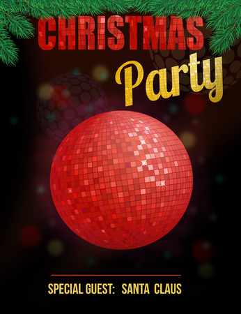 christmas party: Christmas party poster with disco ball, vector illustration