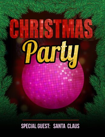 disco symbol: Christmas party poster with disco ball, vector illustration