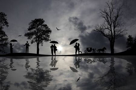 water reflection: Background with beautiful landscape and people silhouette with reflection on water Stock Photo