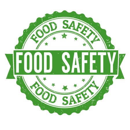 food illustration: Food safety grunge rubber stamp on white background, vector illustration