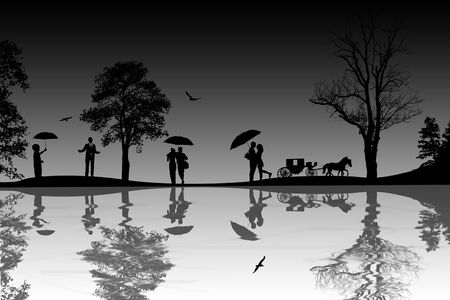 people silhouette: Background with beautiful landscape and people silhouette with reflection on water Stock Photo