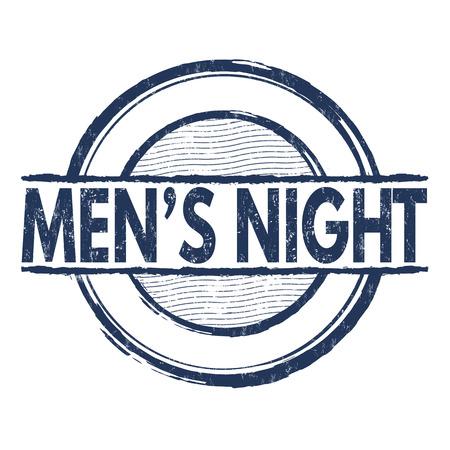 mens: Mens night grunge rubber stamp on white background, vector illustration Illustration