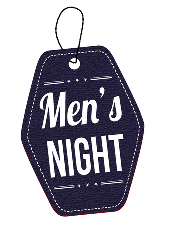 mens: Mens night blue leather label or price tag on white background, vector illustration Illustration