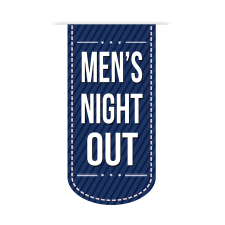 mens: Mens night out banner design over a white background, vector illustration