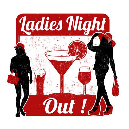 senhora: carimbo de borracha Ladies night grunge no fundo branco, ilustração vetorial