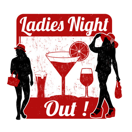 lady: Ladies night grunge rubber stamp on white background, vector illustration