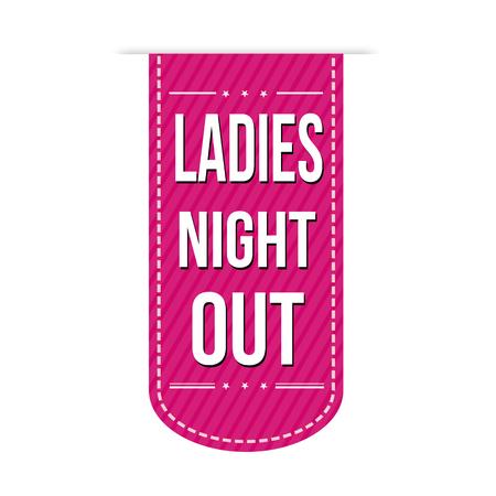 Ladies night out banner ontwerp op een witte achtergrond, vector illustratie