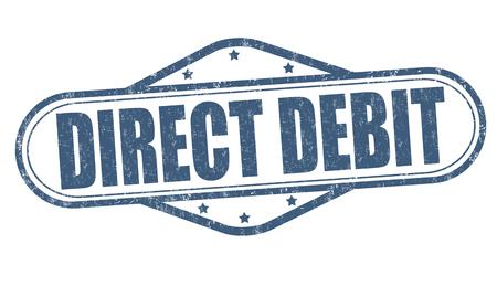 Direct debit grunge rubber stamp on white background, vector illustration Illustration