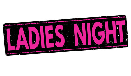 post teen: Ladies night grunge rubber stamp on white background, vector illustration