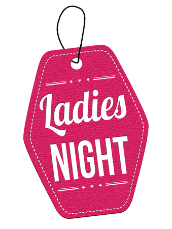 lady: Ladies night pink leather label or price tag on white background, vector illustration Illustration