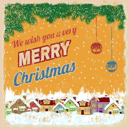 christmas poster: Merry Christmas poster with country rural winter landscape on yellow, vector illustration