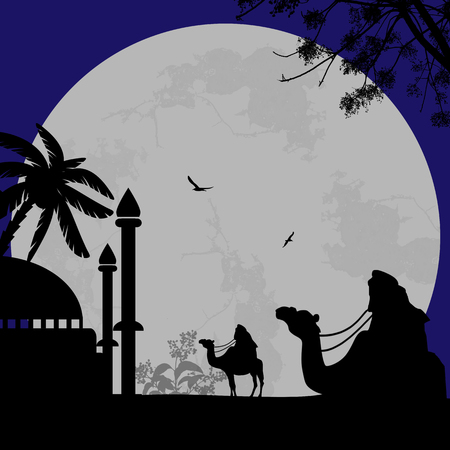 bedouin: Abstract colorful background with bedouins riding camel and  mosque at blue night