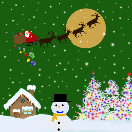 dark sky: Santa Claus on sledge with Magic Deers flying over green night and delivering his christmas gifts Illustration