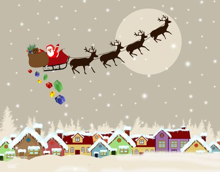 country side: Santa Claus on sledge with Magic Deers flying over country side and delivering his christmas gifts Illustration
