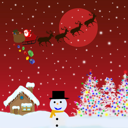 delivering: Santa Claus on sledge with Magic Deers flying over red night and delivering his christmas gifts