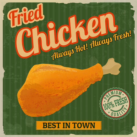 food illustration: Fried chicken retro poster in vintage style, vector illustration