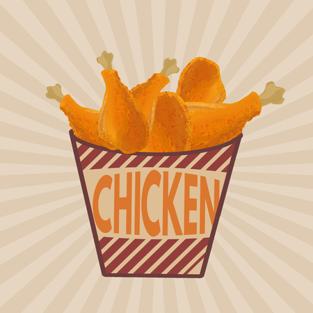 fried: Fried chicken legs on striped box retro poster in vintage style, vector illustration