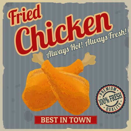 fried: Fried chicken retro poster in vintage style, vector illustration