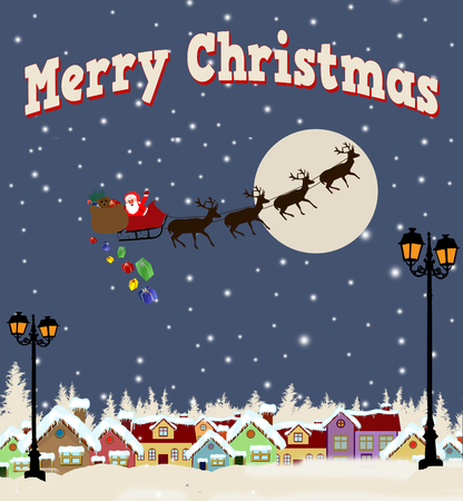 country side: Santa Claus on sledge with Magic Deers flying over country side and delivering his christmas gifts Stock Photo