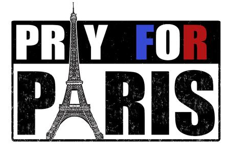 pray for: Pray for Paris grunge rubber stamp on white background, vector illustration