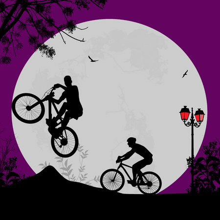 lila: Vector design background with beautiful landscape and cyclists silhouettes Illustration