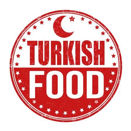 turkish: Turkish food grunge rubber stamp on white background, vector illustration