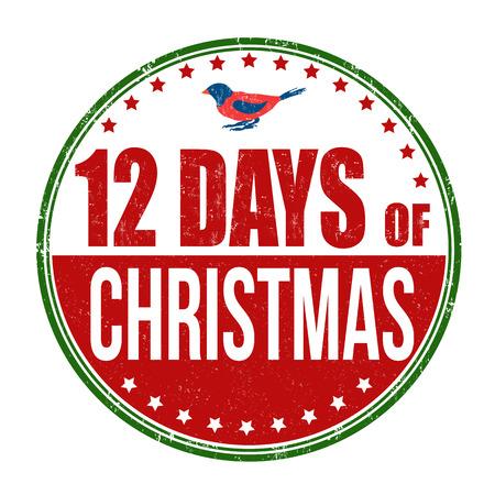 12 日クリスマス グランジ ゴム印、白の背景上のベクトル イラスト