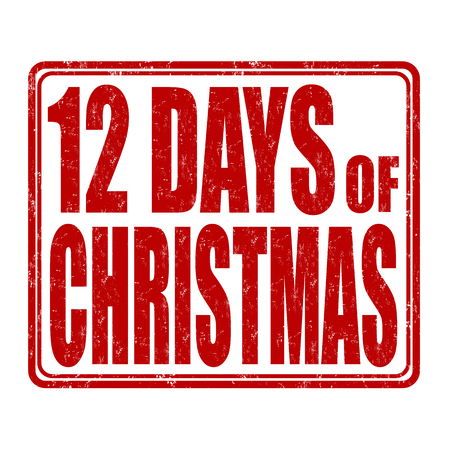 12 days of christmas: 12 Days of Christmas grunge rubber stamp on white background, vector illustration