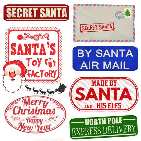 Conjunto de sellos de Navidad aislados y etiquetas en el fondo blanco, ilustración vectorial Vectores