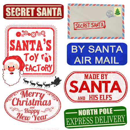 letter from santa: Set of isolated Christmas stamps and labels on white background, vector illustration Illustration