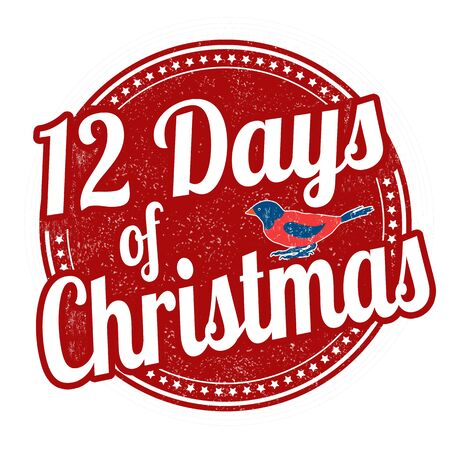 twelve: 12 Days of Christmas grunge rubber stamp on white background, vector illustration