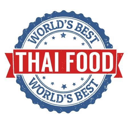 thailand food: Thai food grunge rubber stamp on white background, vector illustration Illustration
