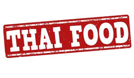 Thai food grunge rubber stamp on white background, vector illustration Ilustrace