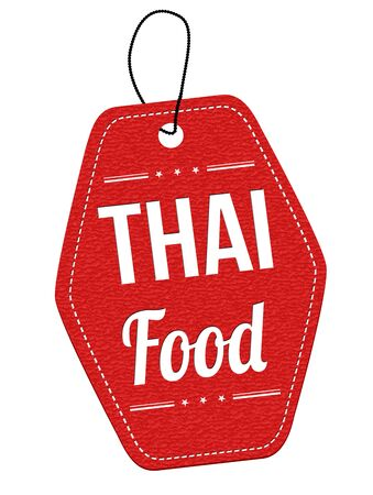 price tag: Thai food red leather label or price tag on white background, vector illustration