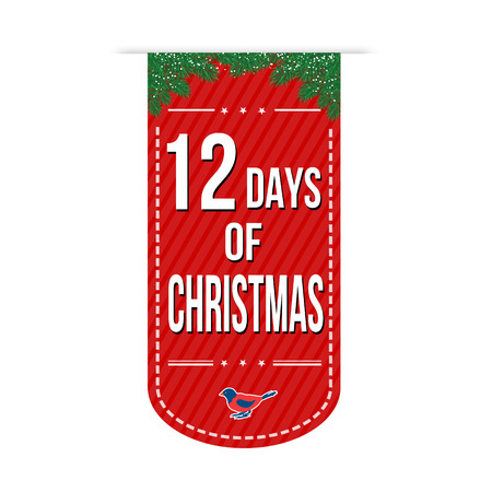 クリスマスの 12 日バナー白背景、ベクトル図の上のデザイン