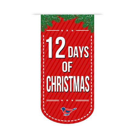12 Days of Christmas banner design over a white background, vector illustration